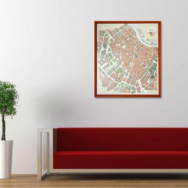 Gerahmter Wienplan im Designer-Wohnzimmer